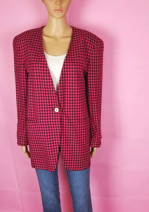 hot pink and black gingham oversize blazer / 90s g