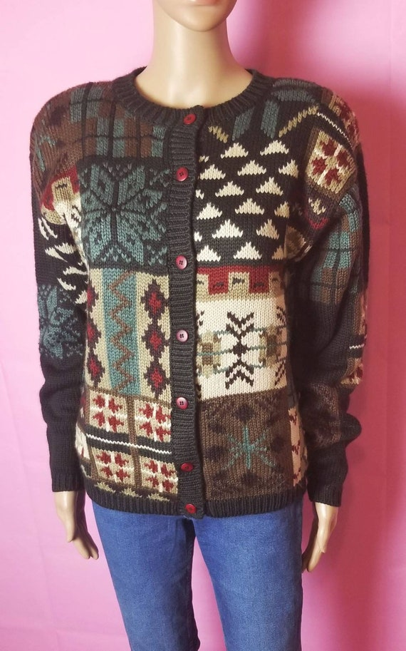 novelty design acrylic and wool chunky knit cardi… - image 2