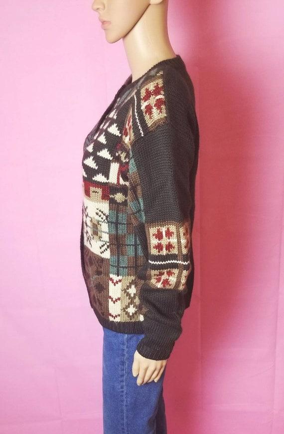 novelty design acrylic and wool chunky knit cardi… - image 4