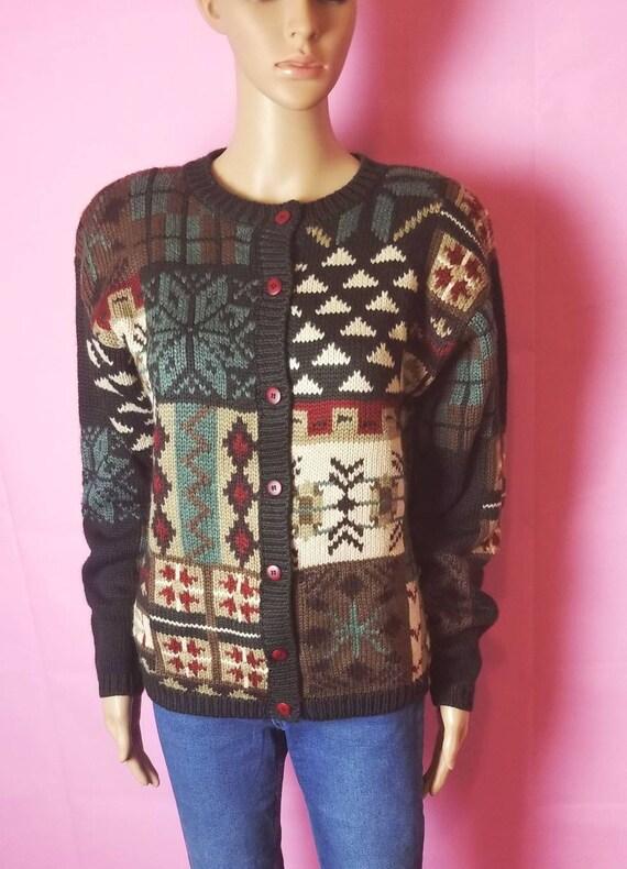 novelty design acrylic and wool chunky knit cardi… - image 7
