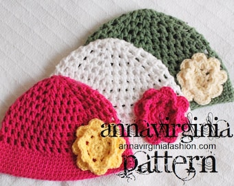 CROCHET PATTERN Mesh Cloche with Flower (toddler to adult) - PDF Crochet Pattern