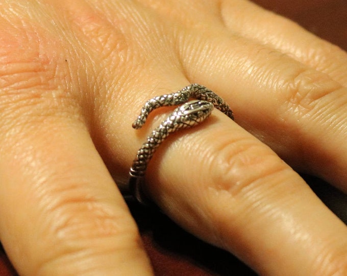 Adjustable Coiled Snake Ring in Sterling Silver or Antique Bronze