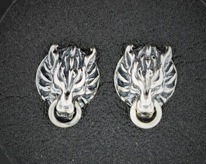 Cloud Strife Wolf Stud Earrings from Final Fantasy 7 in Sterling Silver