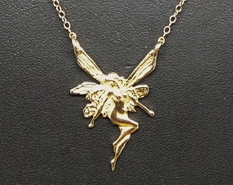 Art Nouveau Fairy necklace in Antique Bronze