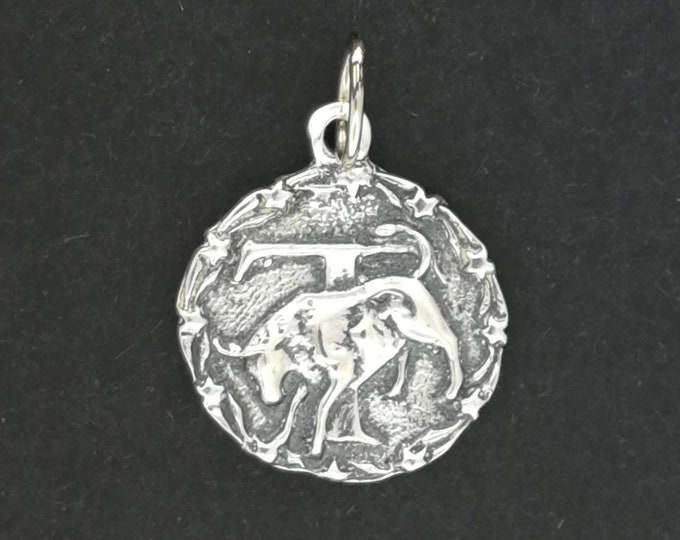 Zodiac Medallion Taurus in Sterling Silver