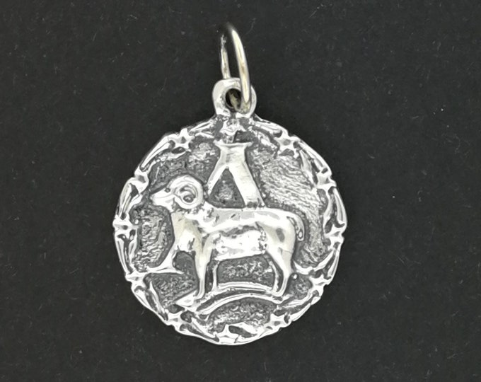Zodiac Medallion Aries in Sterling Silver