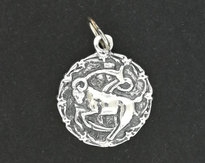 Zodiac Medallion Capricorn in Sterling Silver