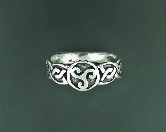 Triskele Knotwork Ring in Sterling Silver or Antique Bronze