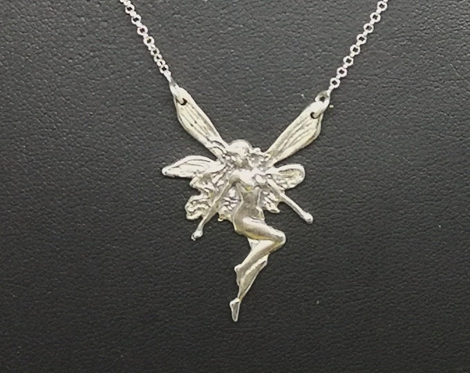 Art Nouveau Fairy necklace in Sterling Silver or Antique Bronze