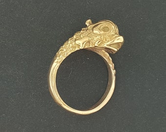 Vintage Stylized Koi Ring in Antique Bronze