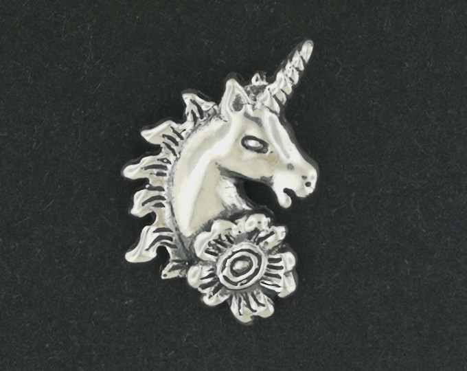 Unicorn Head Charm in Sterling Silver or Antique Bronze