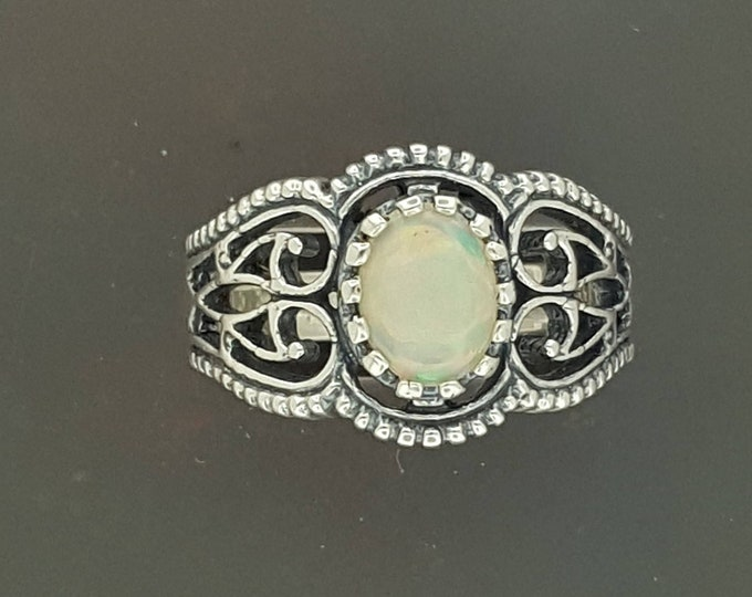 Filigree Ring with Ethiopian Opal in Sterling Silver or Antique Bronze