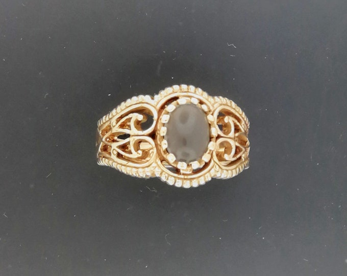 Vintage Style Filigree Ring with Gemstone in Antique Bronze