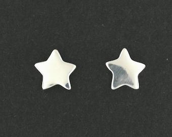 Handmade Star Stud Earrings in Sterling Silver