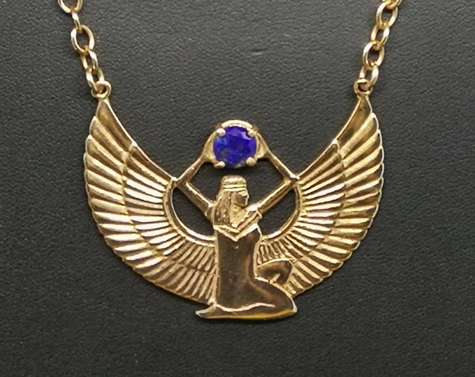 Winged Isis with Lapis Lazuli in Antique Bronze