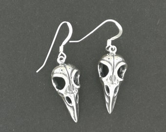 Raven Skull Earrings in Sterling Silver