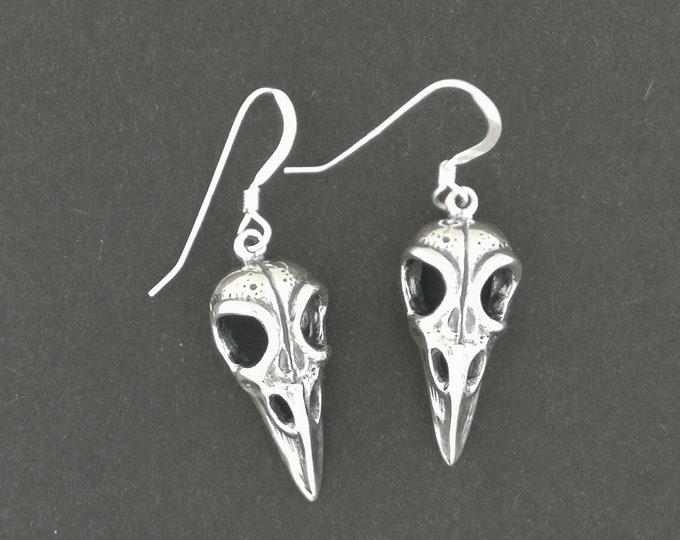 Raven Skull Earrings in Sterling Silver