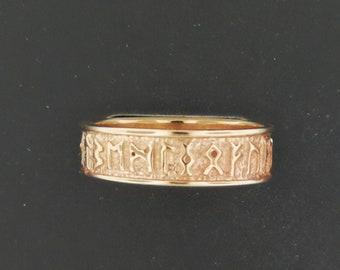 Norse Rune Band in Antique Bronze