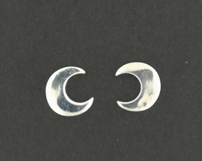 Handmade Crescent Moon Stud Earrings in Sterling Silver