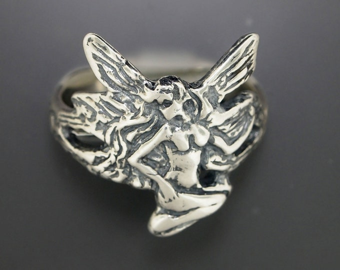 Art Nouveau Fairy Ring in Sterling Silver