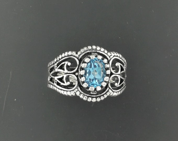 Vintage Style Filigree Ring with Birthstone in Sterling Silver