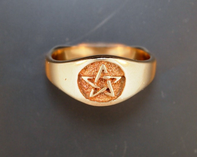 Ladies Pentacle Ring in Sterling Silver or Antique Bronze