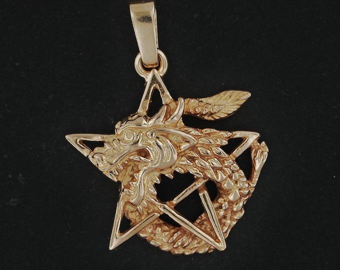 Dragon Pentagram Pendant in Antique Bronze