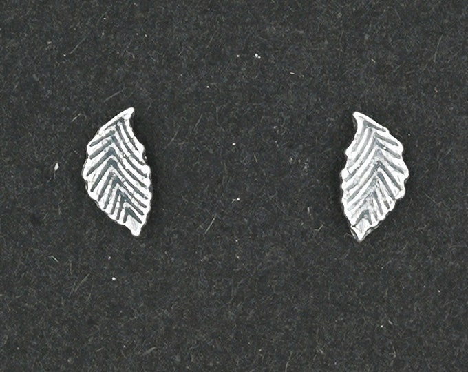 Small Feather Stud Earrings in Sterling Silver