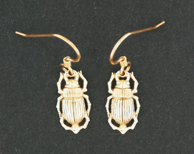 Egyptian Scarab Charm Earrings in Antique Bronze