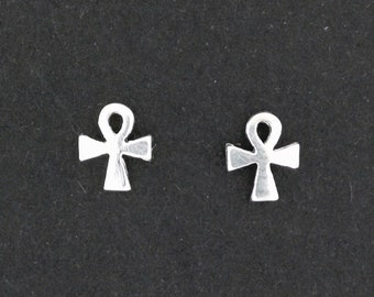 Sterling Silver Ankh Stud Earrings