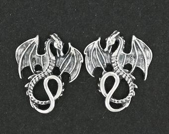 Winged Dragon Stud Earrings in Sterling Silver
