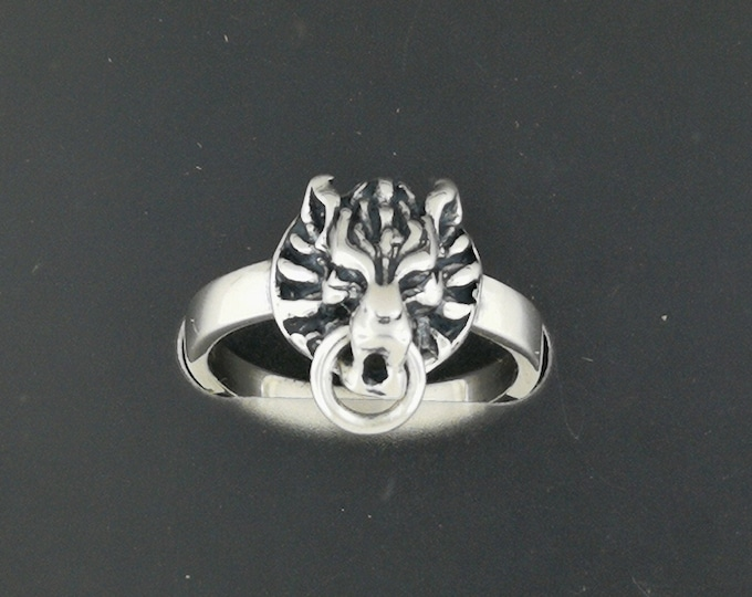 FF7 Fenrir Wolf Ring in Sterling Silver or Antique Bronze