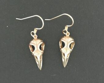 Raven Skull Earrings in Antique Bronze