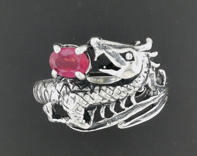 Dragon Ring with Stone in Sterling Silver