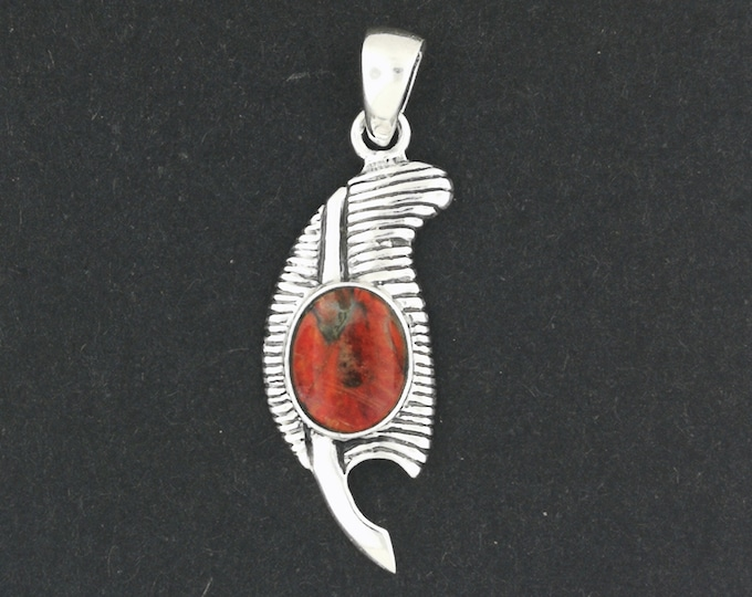 Feather of Ma'at Pendant in Sterling Silver with Ammolite