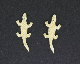Gold Alligator Stud Earrings made to order