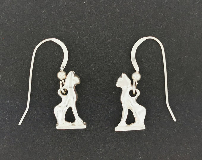 Bastet Cat Charm Earrings in Sterling Silver or Antique bronze