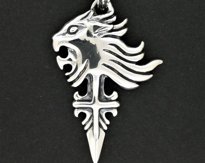 Final Fantasy 8 Squall Griever Pendant Version 2 in Sterling Silver or Antique Bronze