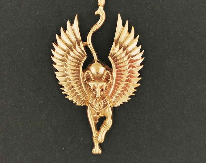 Winged Bastet Pendant in Antique Bronze