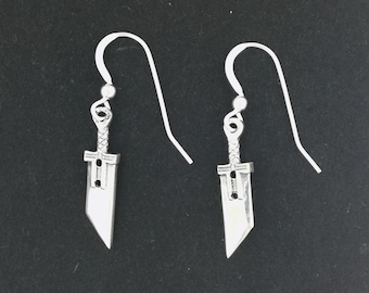 FF7 Small Buster Sword Earrings in Sterling Silver or Antique Bronze