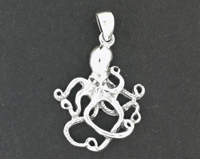 Octopus Pendant in Sterling Silver or Antique Bronze