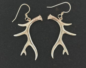 Deer Antler Earrings in Antique Bronze