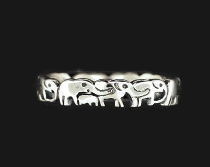 Parading Elephant Band in Sterling Silver or Antique Bronze