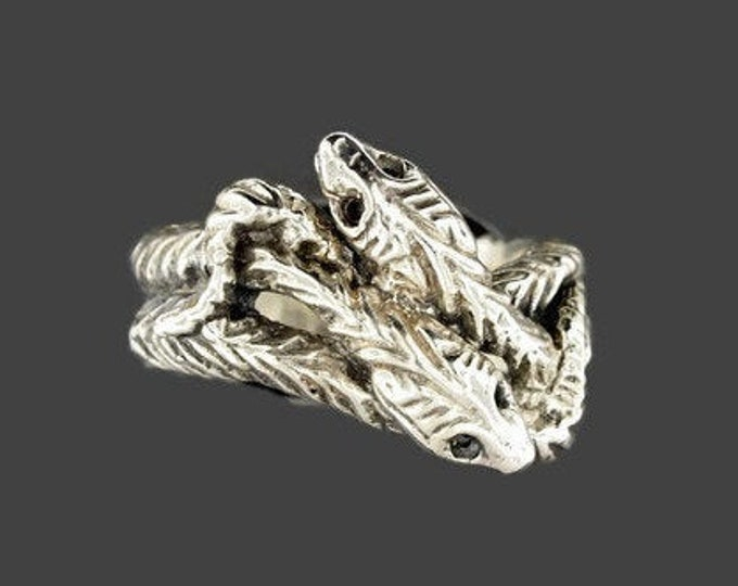 Vintage Style Twin Snakes Ring in Sterling Silver or Antique Bronze