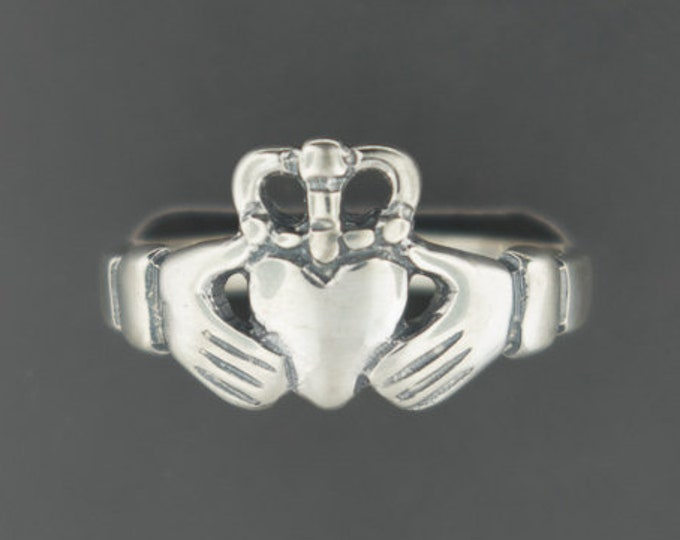 Medium Curled Crown Claddagh Ring in Sterling Silver or Antique Bronze