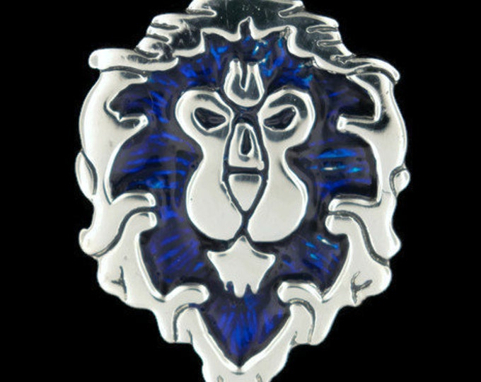 WoW Aliance Lion Pendant in Sterling Silver or Antique Bronze