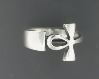 Sterling Silver Wrap Around Ankh Ring
