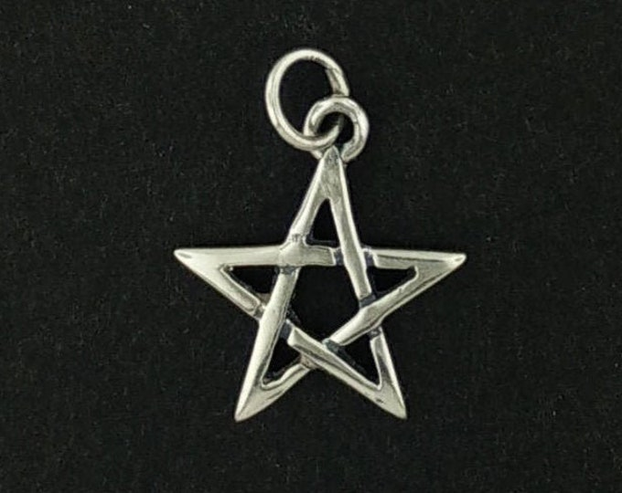 Small Pentagram Star Charm in Sterling Silver or Antique Bronze