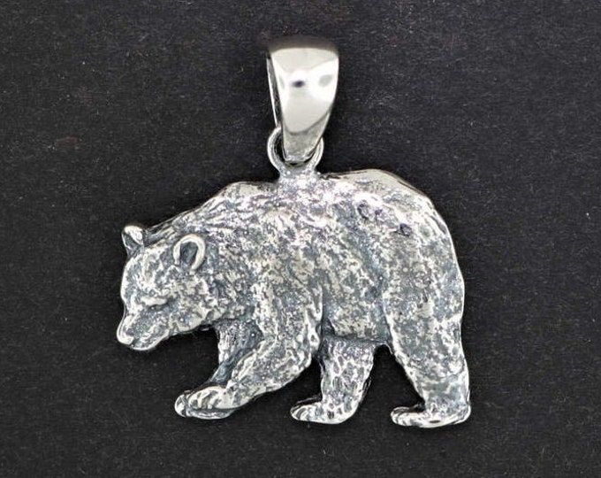 Bear Charm Pendant in Sterling Silver or Antique Bronze
