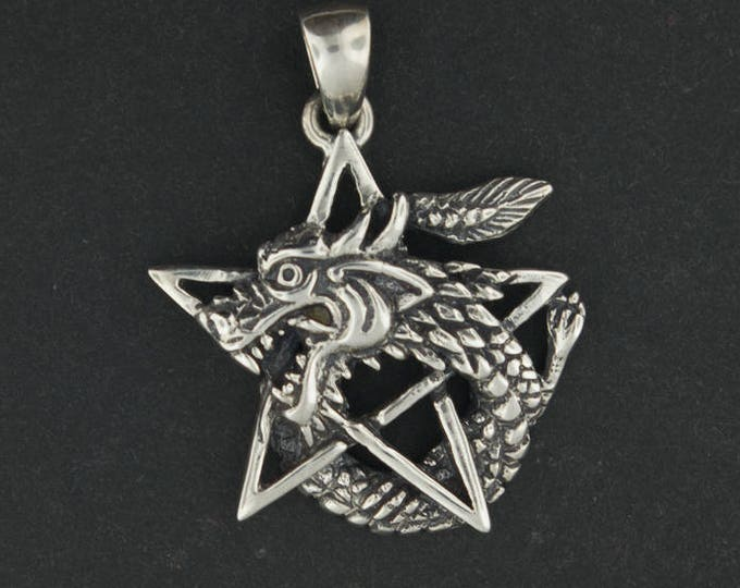 Dragon Pentagram Pendant in Sterling Silver
